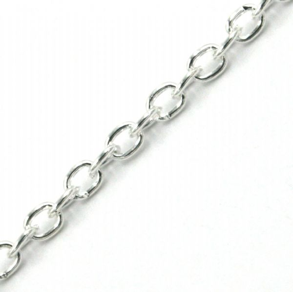 1 meter x 2mm Silver plated oval link chain
